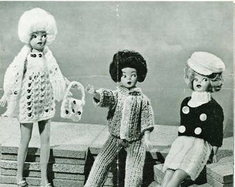 Vintage Pattern Fashion Doll Sindy Barbie Weekend Doll's Wardrobe Clothes instant download knitting pattern