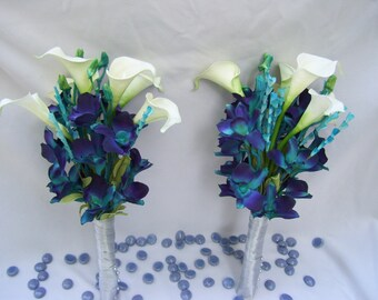 Laura's Bridemaid Arm Bouquet Teal Purple Dendrobium Orchids, White Calla Lilies,Wispy Turquoise Accent Flower,Singapore,Galaxy