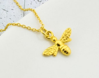 Sterling Silver Bee Necklace Gold Plated, Bee Pendant, Bee Charm, Queen Bee, Sterling Silver Bee, Bee Jewelry, Little Bee, Gold Plated