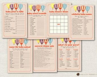 Hot Air Balloon Shower Games, Balloon Baby Shower Games, Hot Air Balloon Shower Games, Hot Air Balloon Decorations - Printable, DIY