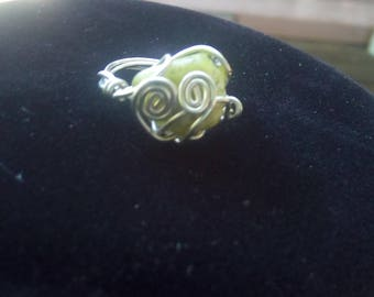 Hand wrapped prehnite ring