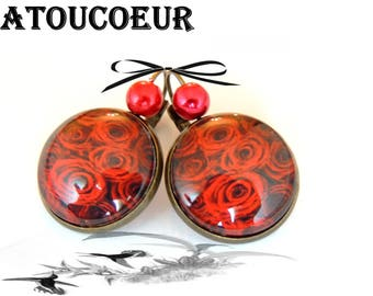 Earrings / Stud Earrings/Cabochon/Metal Bronze color, romantic Roses.