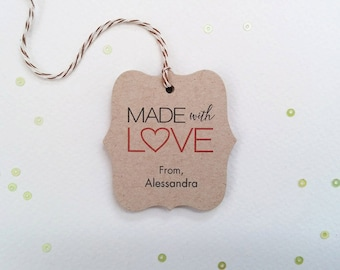 Made With Love Tags - Baked With Love - Custom Gift Tags - Brown Kraft Holiday Baking Tags - Packaging tags (TM-04k)