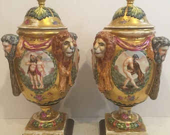 "Pair Antique Figural Porcelain Urns w/ Lion Heads Ernst Bohne Capodimonte 15"""