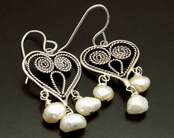 MY HEART ~ White Freshwater Pearls, Sterling Silver Hearts Earrings