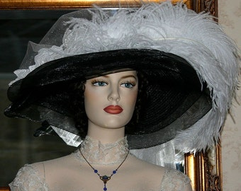 Victorian Hat, Kentucky Derby Hat, Ascot Hat, Steampunk Wedding Hat, Gothic Hat, Titanic Hat, Downton Abbey Hat - Ivory Crystal Fairy