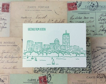 Boston - five letterpress postcards