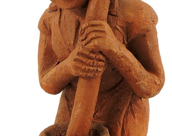 Clay Figure Grinding Dry Maize Malawi Africa 97297