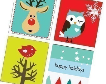 Adorable Christmas Critters -Funky Holiday -Scrabble Size Printable Images -Buy 2 Get 1 Free -Instant Download - .75x.83 Inch - Digital File