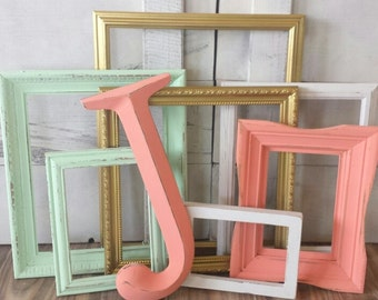 Baby Girl Nursery Frame Collection  / Gallery Wall Frame Set / Shabby Chic Decor / Mint, Coral, Gold, and White / Zoe Collection Coral Frame