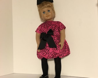 "Hot Pink satin party dress with bubble bottom fits 18"" doll like American Girl"