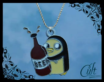 Adventure Time sterling silver / faux leather necklace with Gunter & beer charm