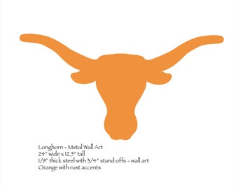 "Texas longhorn wall art - 24"" wide - metal wall art - orange with rust patina"