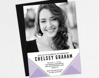 Graduation Invitation, Photo Graduation Invitation, Graduation Announcement, Printable, PDF, DIY, Printed, Modern, Geo, Purple, Chelsey
