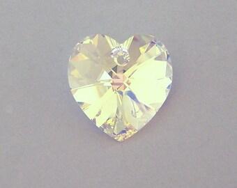 Swarovski crystal AB heart pendant, 18mm crystal AB heart, aurora borealis, large clear crystal heart, qty 1