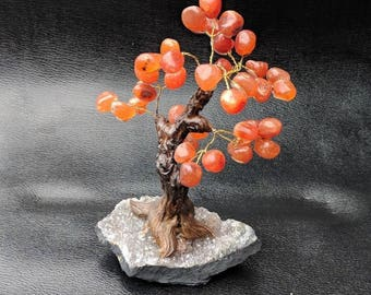 Finest carnelian tumbled Gemstone Tree Geode base