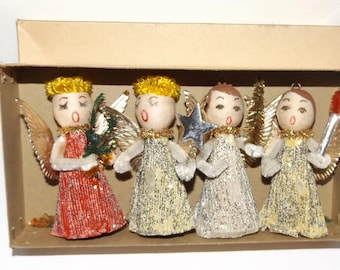 Christmas Angel Vintage Pipe Cleaner Figures In Box Glitter Kitsch Holiday Decor