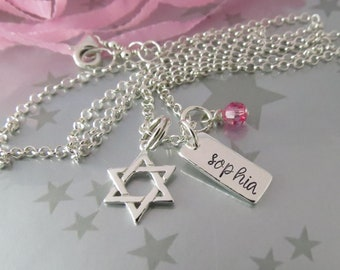 Bat Mitzvah Necklace Star of David with Personalized Hand Stamped Name Tag in Sterling Silver. Keepsake Celebration gift for Girls.