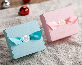 Set of 10 - Baby Shower favour box, Birthday party box, Blue/Pink Baby Boy Baby Girl Bomboniere, Lolly/candy box, Box with ribbon,