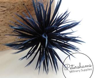 Goose Biot Feather Pom Hat Mount for Millinery, Fascinators & Hats - Navy Blue