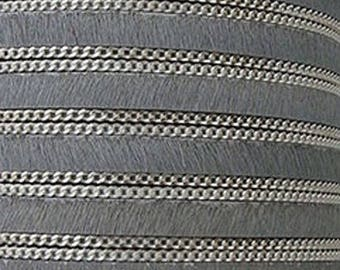 Leather hair chain grey 10 mm wide, 21 cm