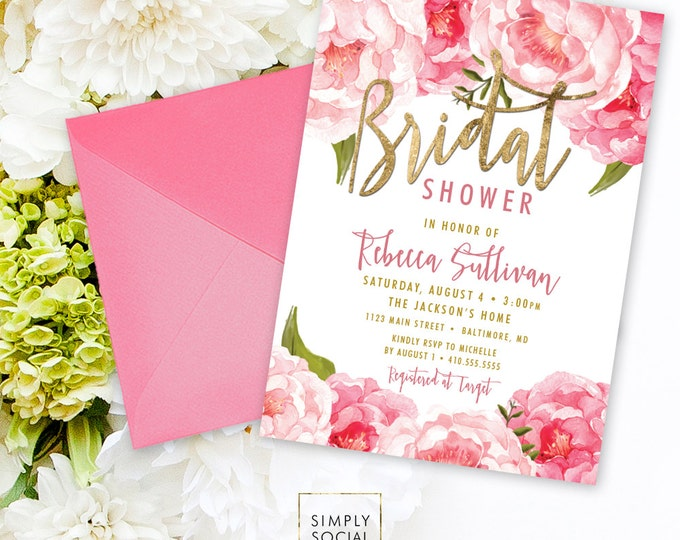 Floral Bridal Shower Invitation - Pink Peony Ranunculus and Faux Gold Foil Watercolor Floral Boho Shower Invitation Calligraphy Printable