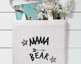 Mama Bear, Gift for Mom, Gift for Mum, Funny market bag, Funny shopping bag, Canvas tote bag, Fun, Tote, Bag for life,