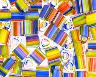 "5 x ""Furnace Glass"" RAINBOW Triangle beads"