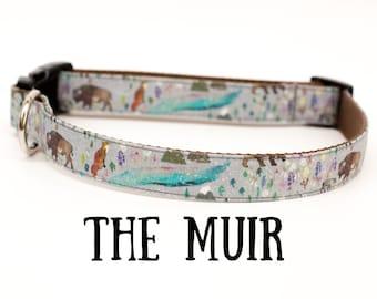 Handmade Yukon Nature dog collar, outdoors, adventure, wildlife, mountains, boy dog collar, girl dog collar