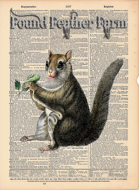 "Vintage Antique Dictionary Page with Antique Print ""Squirrel"""