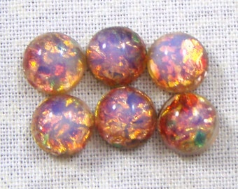 11MM Round, Harlequin, Pink Fire, Glass Opals, 4