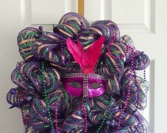 Ready to Ship - Mardi Gras Wreath (Handmade) - Purple,Green & Gold Wreath - Deco Wreath - Mardi Gras Holiday