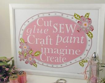 Sewing room Craft Glue Create sign digital PDF  -pink cut sew imagine paint words feminine saying