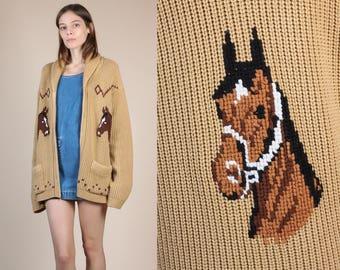 70s Horse Cardigan Sweater - Medium // Vintage Zip Up Knit Novelty Animal Jumper