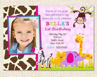 Safari Jungle Birthday Invitations