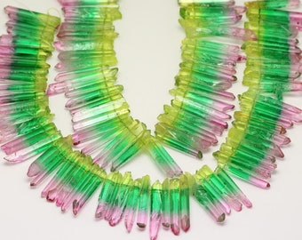 3 Colors Yellow Green Pink Crystal Points Beads Strand,Graduated Top Drilled Rough Quartz Spkies Pendant Jewelry Crafts
