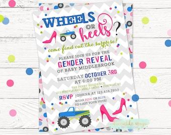 Wheels or Heels Gender Reveal Invite, Gender Reveal Invitation, DIY Printable File, Sex Reveal, Gender Reveal Idea, Trucks or High Heels