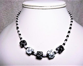 Black And White Square Decorated Beaded Necklace - Item 895 N
