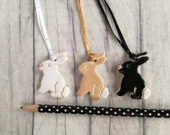 Pottery rabbit decorations, Easter decorations, Easter tree ornaments, Easter bunny