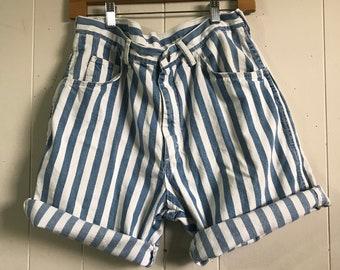 Vintage 90s Blue & White Striped High Waisted Wrangler Jean Shorts