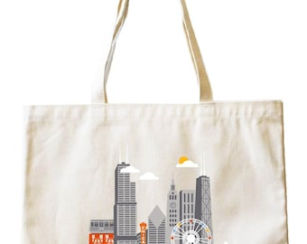 City Living Tote bag - Chicago - Illinois - Market bag - Reusable bag - Canvas tote - Shopping bag - Shoulder bag - Organic