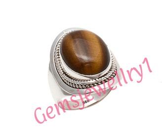 Tiger eye Ring, Girl / Women Ring, Tiger Eye Stone Ring, 925 Sterling Silver, Gift Ring, US Size 5 6 7 8 9 10 11 12 13 14 15 16 8