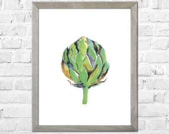 Artichoke Painting, Artichoke Art, Kitchen Wall Art, Vegetable Print, Kitchen Art Print, Vegetable Watercolor Painting, Kitchen Wall Decor