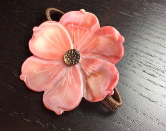 Salmon Champagne Mother of Pearl Plumeria Hair Elastic