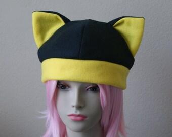 Fleece Cat Hat / BLACK + YELLOW Beanie Style Cap Cute Anime Neko Cosplay Cat Ears Kitty Ears Kawaii Japanese Fashion