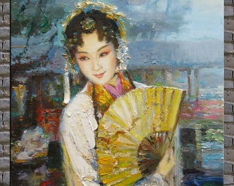 Painting, oil painting,modern canvas painting ,original palette knife painting a woman of Chinese opera