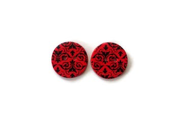 Red Handmade Polymer clay Buttons - Decorative Buttons Crochet Supplies-Knitting Supplies -Button Scarf-Sewing Supplies-Red brocade buttons