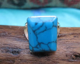 Spiderweb Turquoise and Sterling  Ring Size 7