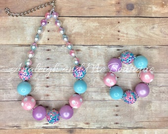 Easter Pink Aqua and Purple Chunky Necklace, Pink Aqua and Purple Baby Necklace, Unicorn Chunky Necklace, Pink and Purple Unicorn Necklace