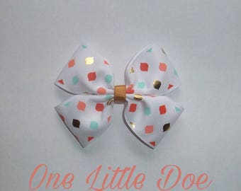 Coral and teal hair bow